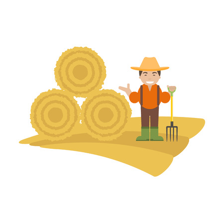 Farmer with Pitchfork and Haystack Stock Photo