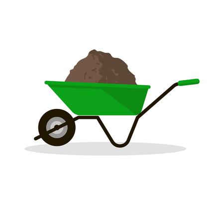 Wheelbarrow with Organic Fertilizer 矢量图像