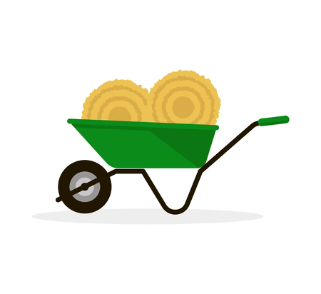 pitchfork: Wheelbarrow with Hay