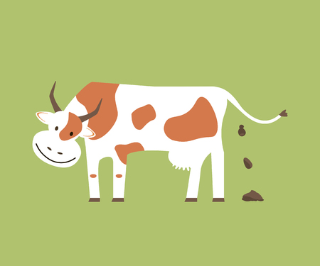 Cow and Organic Manure Illustration
