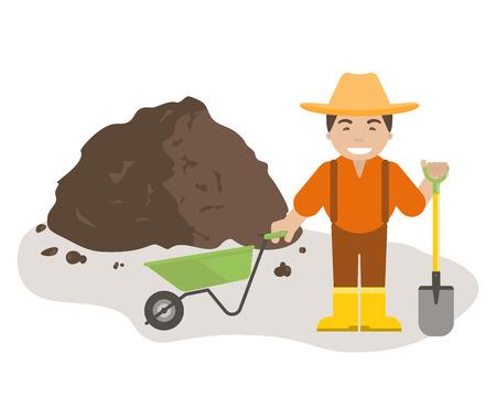 Agricoltore o giardiniere con pala e carriola