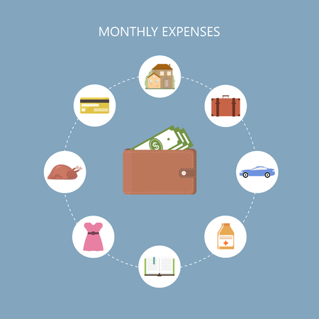 costs: Monthly Expenses Concept Illustration