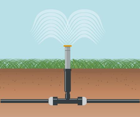 水灌漑。自動スプリンクラー システム