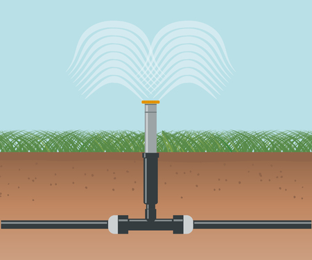 Water Irrigation. Automatic Sprinklers System Иллюстрация