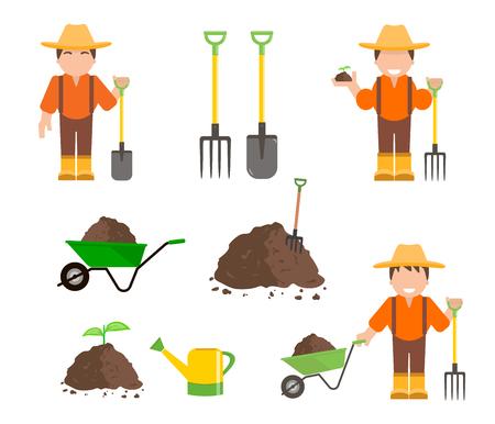 Agriculteur et jardinier avec des outils Banque d'images - 79734143