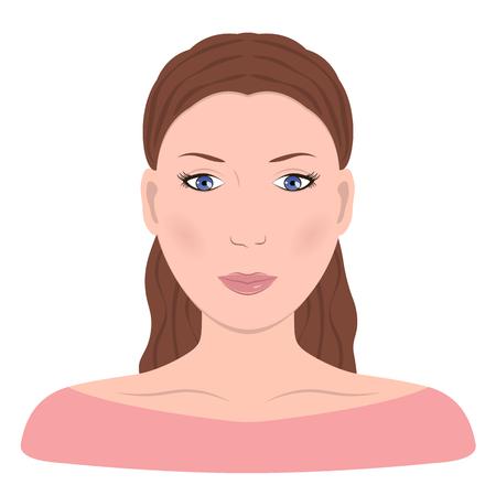 Young girl face. Beautiful woman. Vector illustration flat design