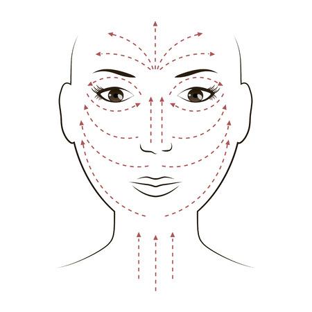顔にクリームを適用するための顔マッサージ行  イラスト・ベクター素材