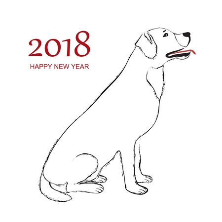 Happy New Year 2018 Dog