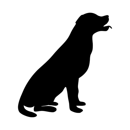 Dog Icon. Labrador Silhouette Sitting Illustration