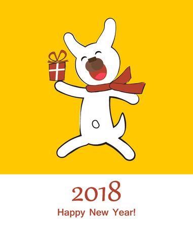 Scheda di buon anno con cane Archivio Fotografico - 83254020
