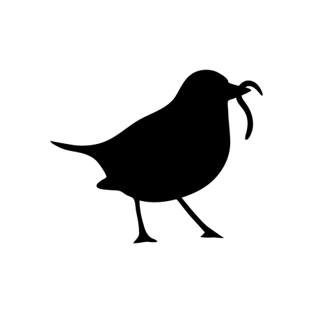 flat earth: Bird and worm silhouette.