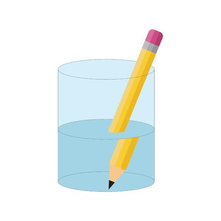 Doblar el experimento del lápiz. Refracción de la luz