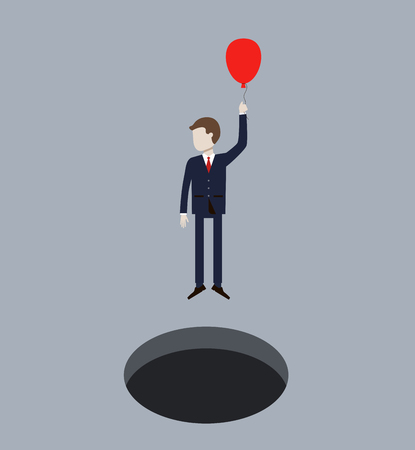 Business Man Flying On Air Balloon from Hole