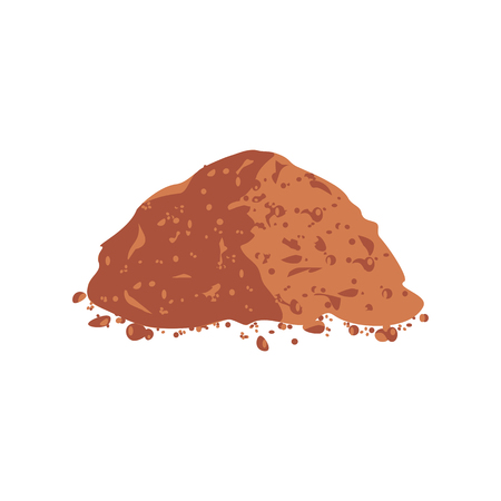 Pile Cocoa Powder. Cacao isolated on white background Vector illustration flat design