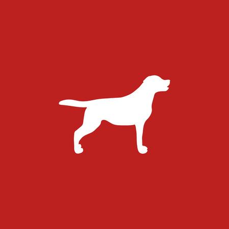 White Silhouette Dog on Red Background. Vector illustration design. Vettoriali