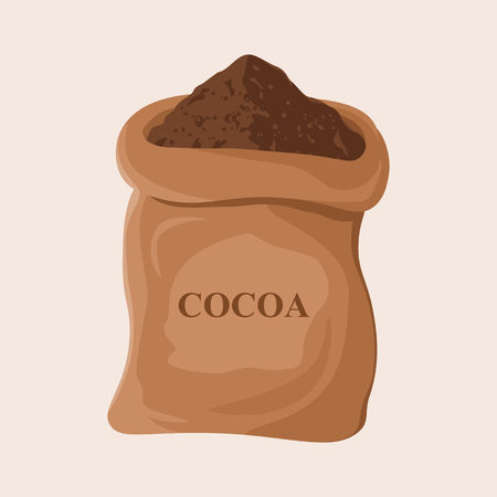 Mucchio di cacao in polvere. Cacao scuro in una borsa Design piatto illustrazione vettoriale Archivio Fotografico - 85991006