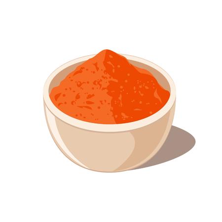ボウルに唐辛子スパイス粉  イラスト・ベクター素材