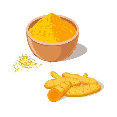 Turmeric Root with Powder in Bowl