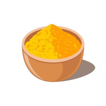 Turmeric in Bowl. Curcumin Powder.