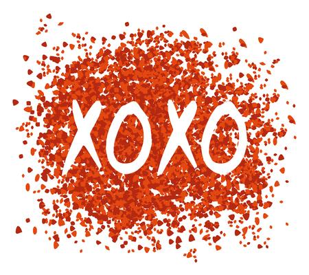 XOXO Greeting Card. Hugs and Kisses Vettoriali
