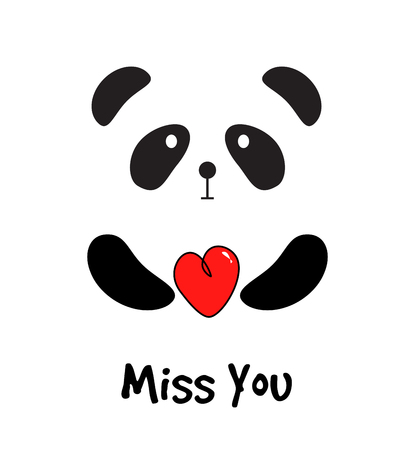 Cute Panda with Red Heart. Miss You Card