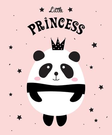 Diseño de Panda Little Princess sobre un fondo rosa. Foto de archivo - 91509164