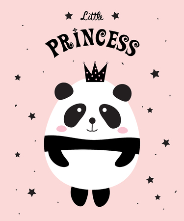 Panda Little Princess design on a pink background