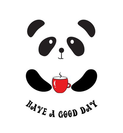 Have a Good Day Quote. Cute Panda with Cup of Coffee Vettoriali