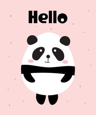 Cute Panda Bear Say Hello on a pink background