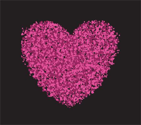 Cuore su sfondo nero. Carta di San Valentino. Illustrazione vettoriale Archivio Fotografico - 93234904
