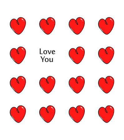 Cuore rosso. Ti amo testo. Carta di San Valentino. Illustrazione vettoriale Archivio Fotografico - 93234902