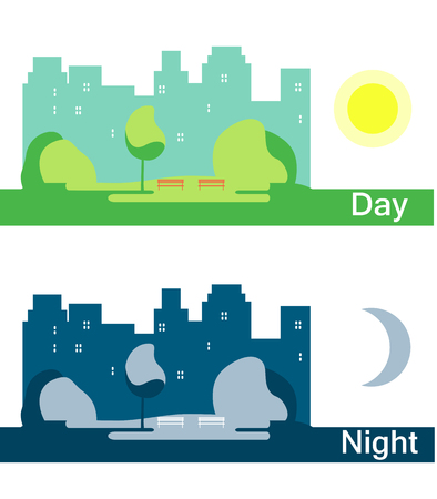 Day and Night City with  Sun and Moon