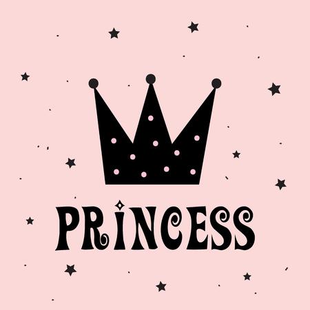 Piccola principessa con slogan della corona Archivio Fotografico - 96129226