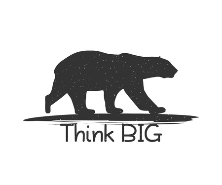 Black Bear with Quote Think Big. Illustration