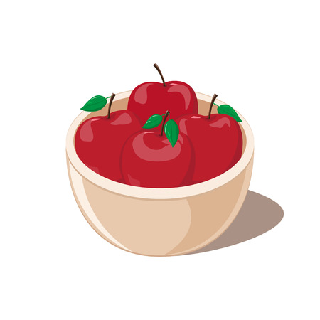 Red Apples in a Bowl vector illustration
