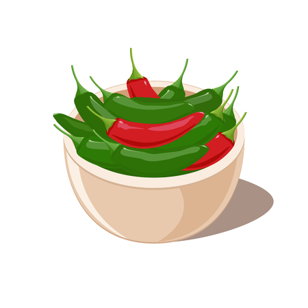Red and Green Jalapeno Peppers in a bowl.