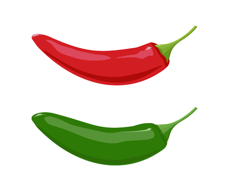 Red and Green Jalapeno Peppers. Illustration