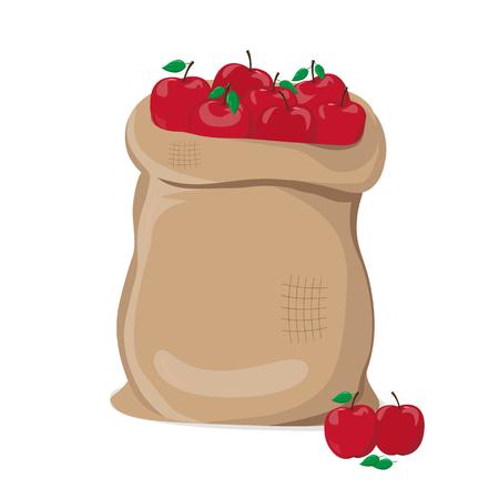 Mele rosse in un'illustrazione di vettore del sacco Archivio Fotografico - 98608039