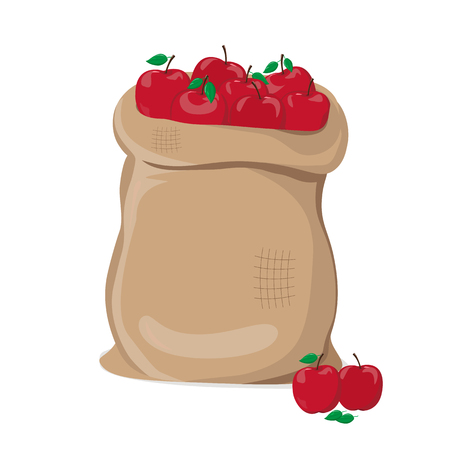 Red apples in a Sack vector illustration