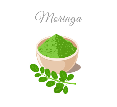 Moringa Powder in Bowl. Plant and Leaves Illustration