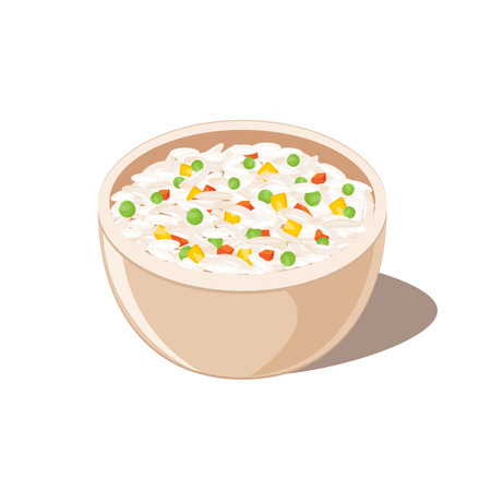Rice with vegetables illustration.