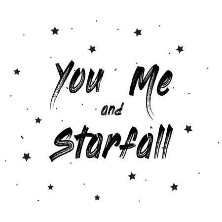 Tu e io e Starfall Lettering Card Archivio Fotografico - 98486980