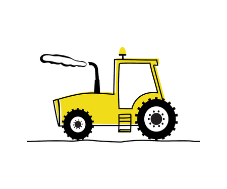 Funny yellow tractor. Hand drawing vector illustration Vettoriali
