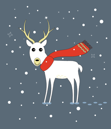Merry Christmas and Happy New Year greeting card with cute deer in the forest. Vector illustration. Ilustração
