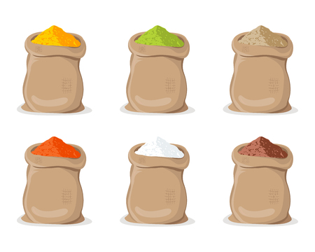 Indian Spice Powder in Sack. Bags isolated with powder of turmeric, paprika, curry, cacao, salt, sugar, ginger cumin Illustration