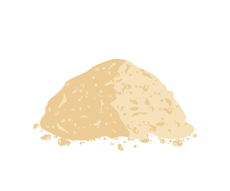 Ground soy powder isolated on a white background. Soy flour. Vector illustration flat design