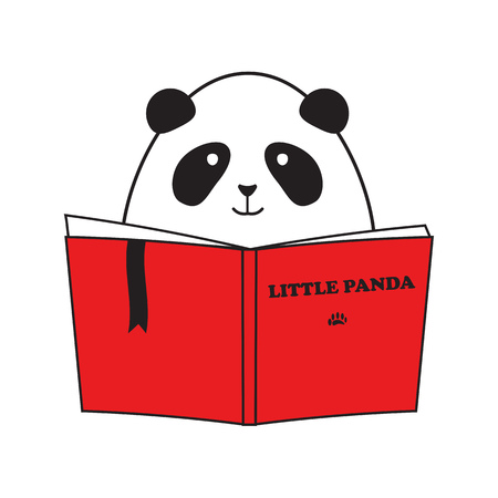 Cute Little Panda Reading Book