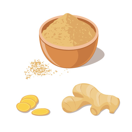 Fresh ginger root and powder in bowl. Ilustração