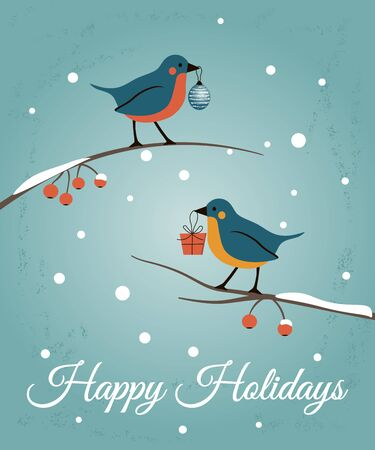 Happy Holidays retro card with birds. Happy New Year and Merry Christsmas greeting illustration Archivio Fotografico - 133928509