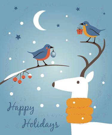 Happy Holidays retro card with birds and deer. Happy New Year and Merry Christsmas greeting illustration Ilustração